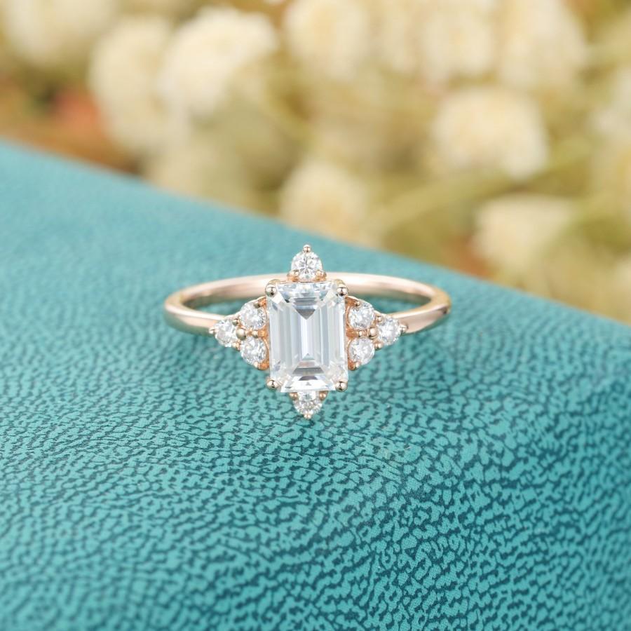 زفاف - Emerald cut Moissanite engagement ring vintage rose gold Unique Cluster moissanite/diamond wedding Delicate Bridal Promise gift for women