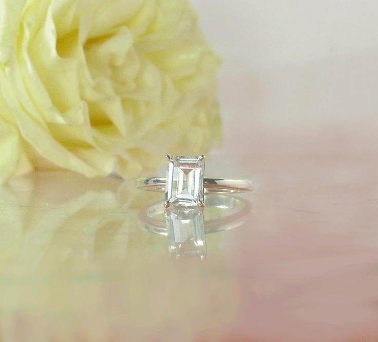 Wedding - Herkimer Diamond, Emerald Cut Engagement Ring, Emerald Cut Solitaire Ring, Solitaire Ring, Herkimer Diamond Ring, Conflict Free Ring