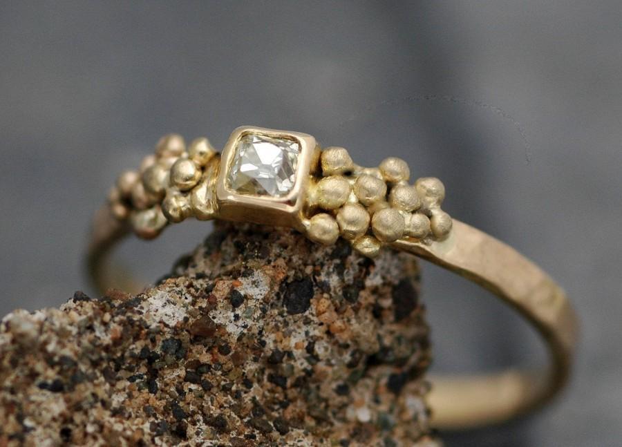 زفاف - Antique 1800's Old Mine Cut Miner Cut Diamond in 18k Recycled Gold Ring- Vintage Victorian Era Diamond- Made to Order Engagement Ring