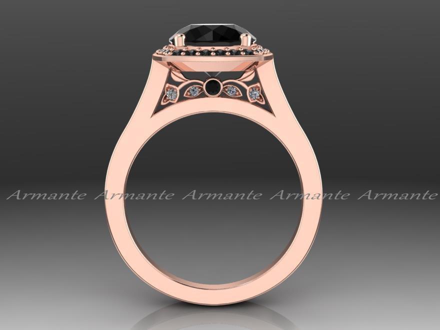 زفاف - Vintage Engagement Ring, Vintage Style Balck Diamond Engagement Ring 14k Rose Gold Re0009rbk