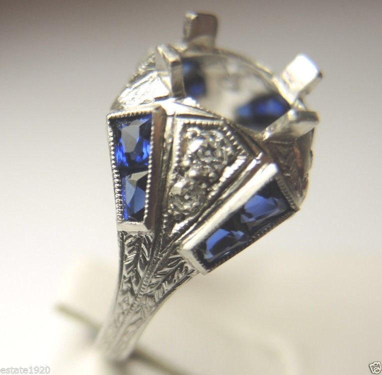 Wedding - Antique Art Deco Diamond Sapphire Platinum Engagement Ring Setting Mounting Mount