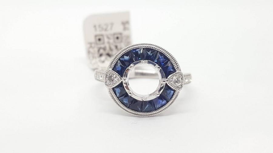 زفاف - Art Deco 14k White Gold Diamond & Sapphire Ring Semi Mount Round Center 6 MM to 6.5mm