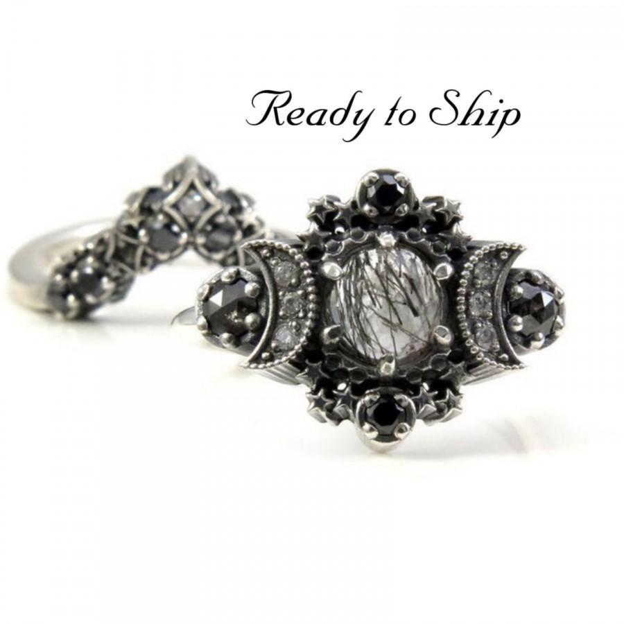 زفاف - Ready to Ship Size 6 - 8 - Black Rutile Quartz Cosmos Moon and Star Ring - Sterling Silver with Stardust Diamond Chevron