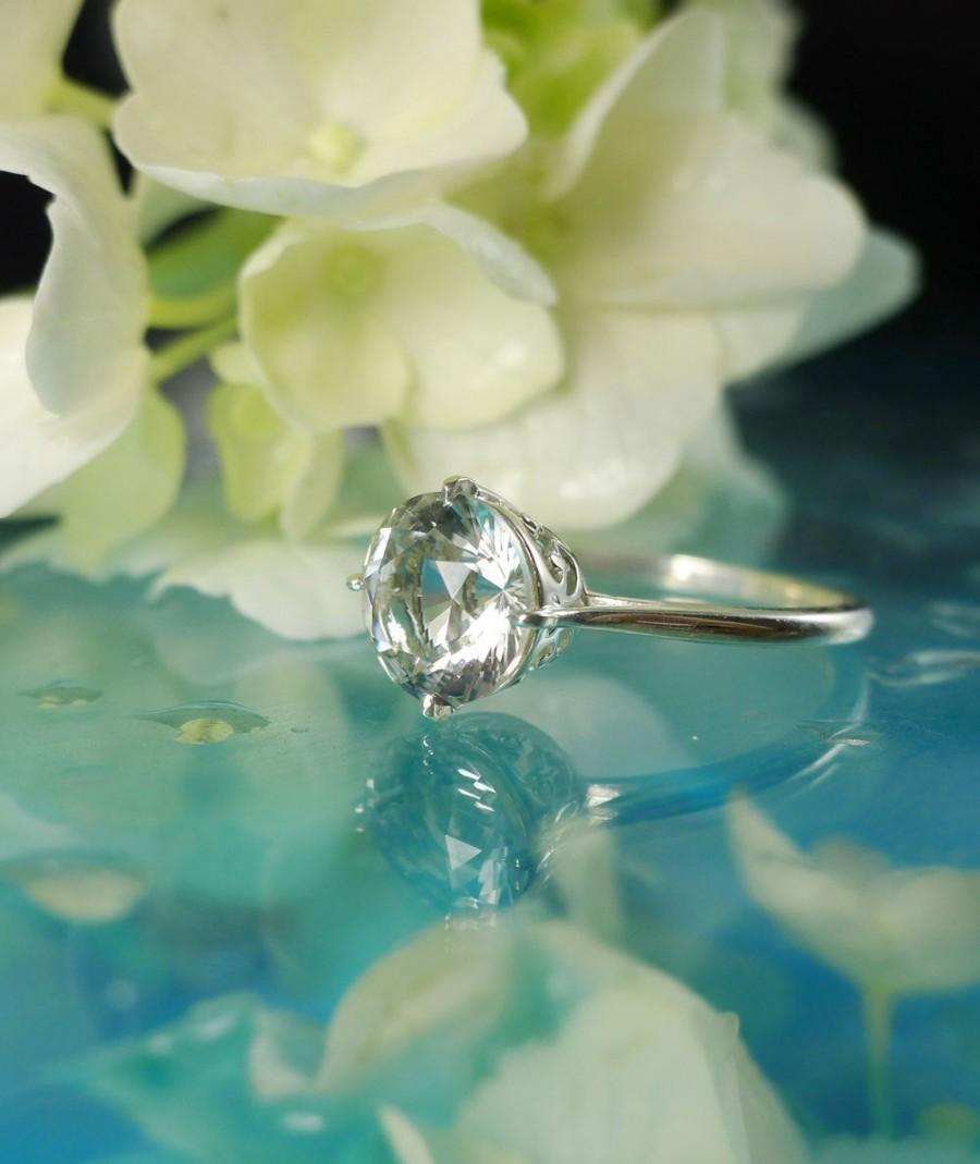 Wedding - Herkimer Diamond Ring, Solitaire Diamond Alternative, Gift for Her, Engagement Ring, Handmade Jewelry, Wedding