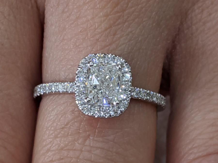 زفاف - 1 1/3 Carat Diamond Engagement Ring, Cushion Diamond Ring, Elongated Cushion Ring , Engagement Ring, Cushion Halo, Anniversary Ring