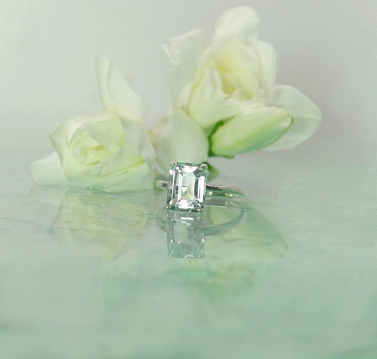 زفاف - Emerald Cut Engagement Ring, Emerald Cut Ring, Diamond Alternative, Conflict Free Ring, Herkimer Diamond, Solitaire Ring, Emerald Cut Rings