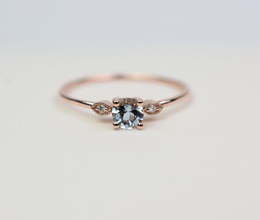 Wedding - Aquamarine Ring / 14k Gold Aquamarine Ring / Diamond Aquamarine Ring / March Birthstone Ring / Dainty Aquamarine Ring /Stackable Aquamarine