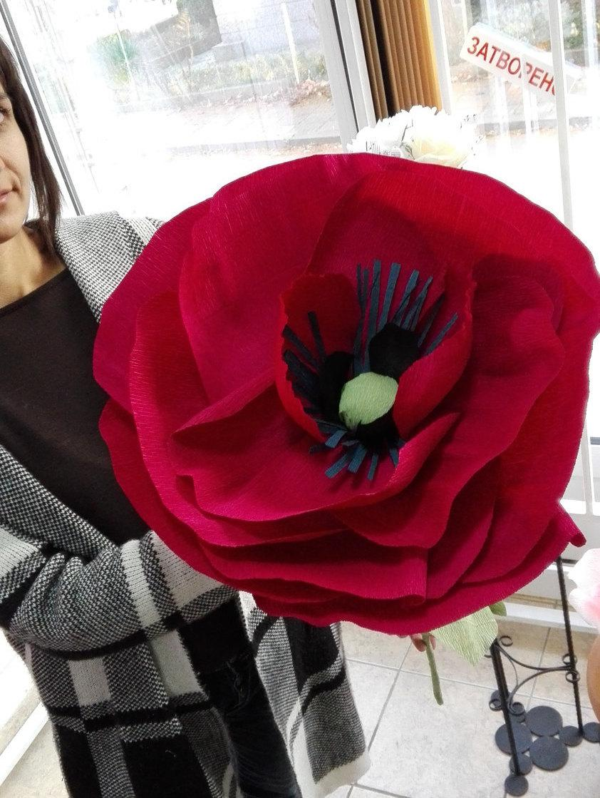 Свадьба - Dark red giant poppy Wedding paper flower bouquet Large paper flower poppy Bridal bouquet giant poppy Wedding decor Jumbo flower