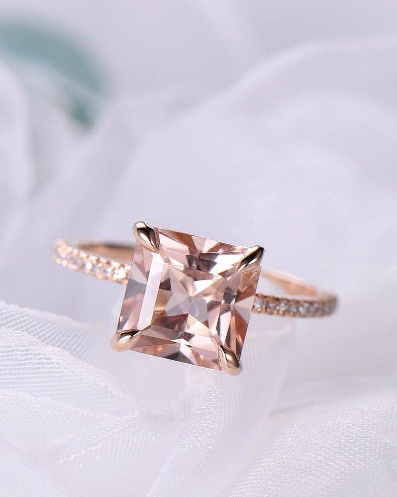 Wedding - Princess Cut Morganite Engagement Ring 14k Rose Gold 925 Sterling Silver Solitaire Wedding Ring CZ Diamond Half Eternity Promise Bridal Set