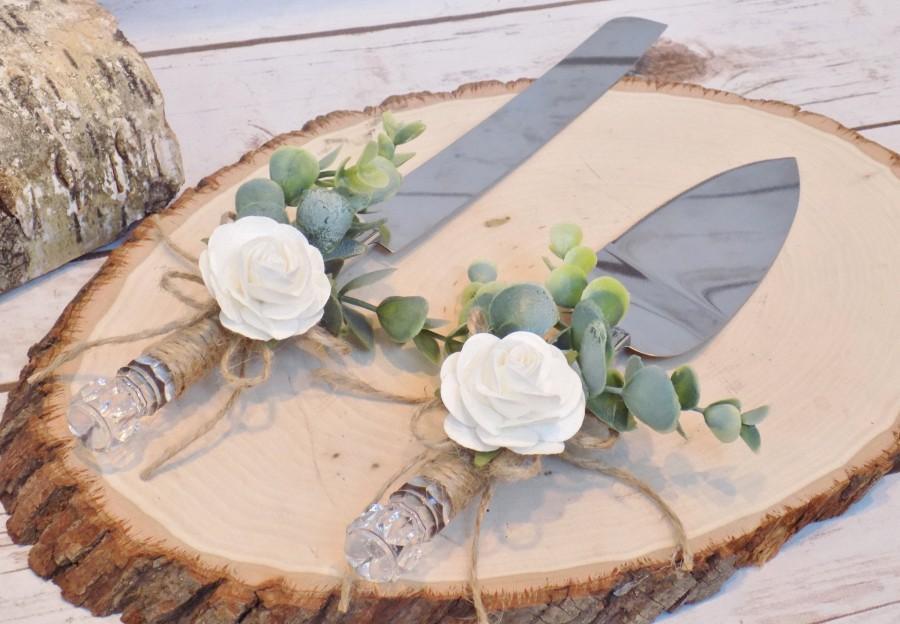 Wedding - Rustic Eucalyptus Wedding Cake Serving Set