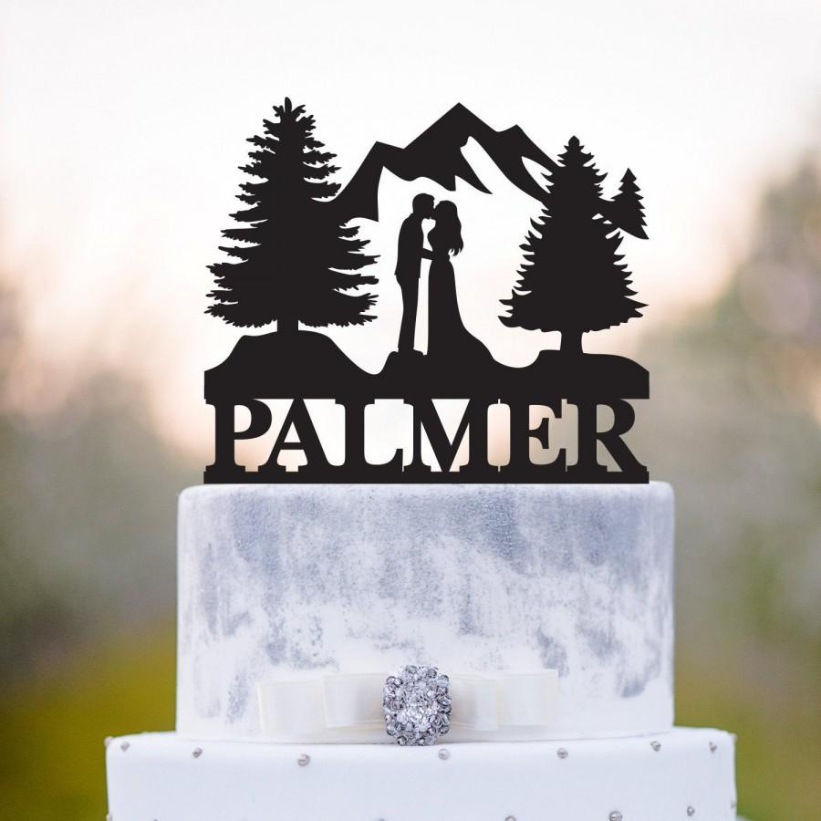 Wedding - Mountain wedding cake topper,Outdoor wedding cake topper,forest wedding cake topper,forest theme cake topper,fall wedding cake topper,a70