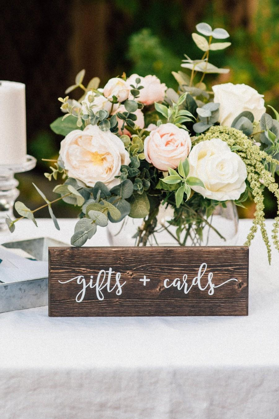 Wedding - Gifts and Cards Sign - Wedding Wooden Sign - Rustic Table Decor - Wedding Table Centerpiece