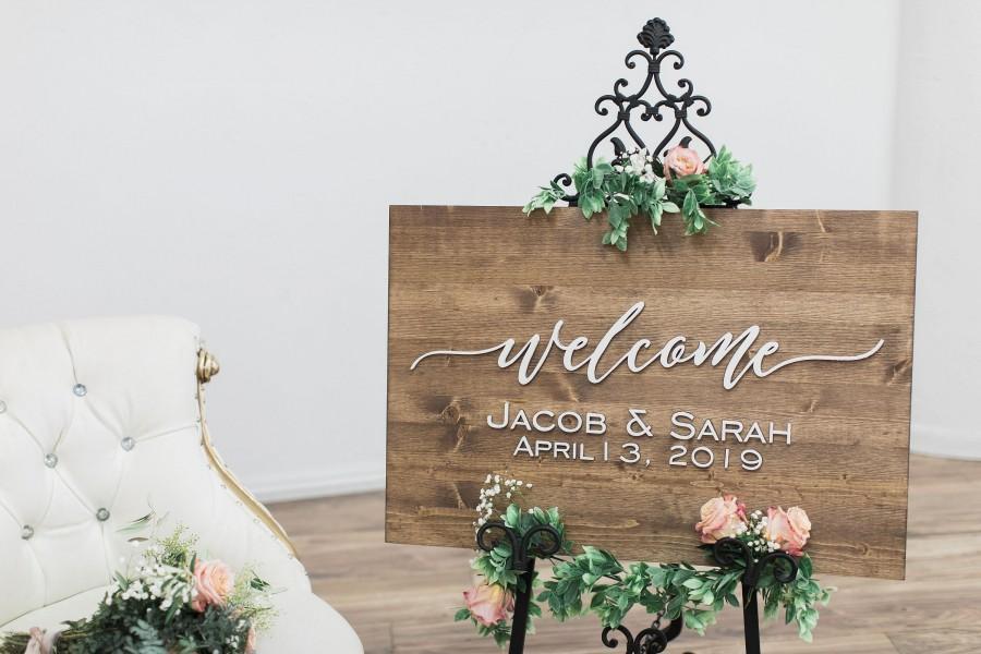 Wedding - Wedding Welcome Sign, Wedding Sign, Rustic Wood Sign, Wedding Signage, Wedding Name Sign, Established Date Sign, Custom Wedding Sign
