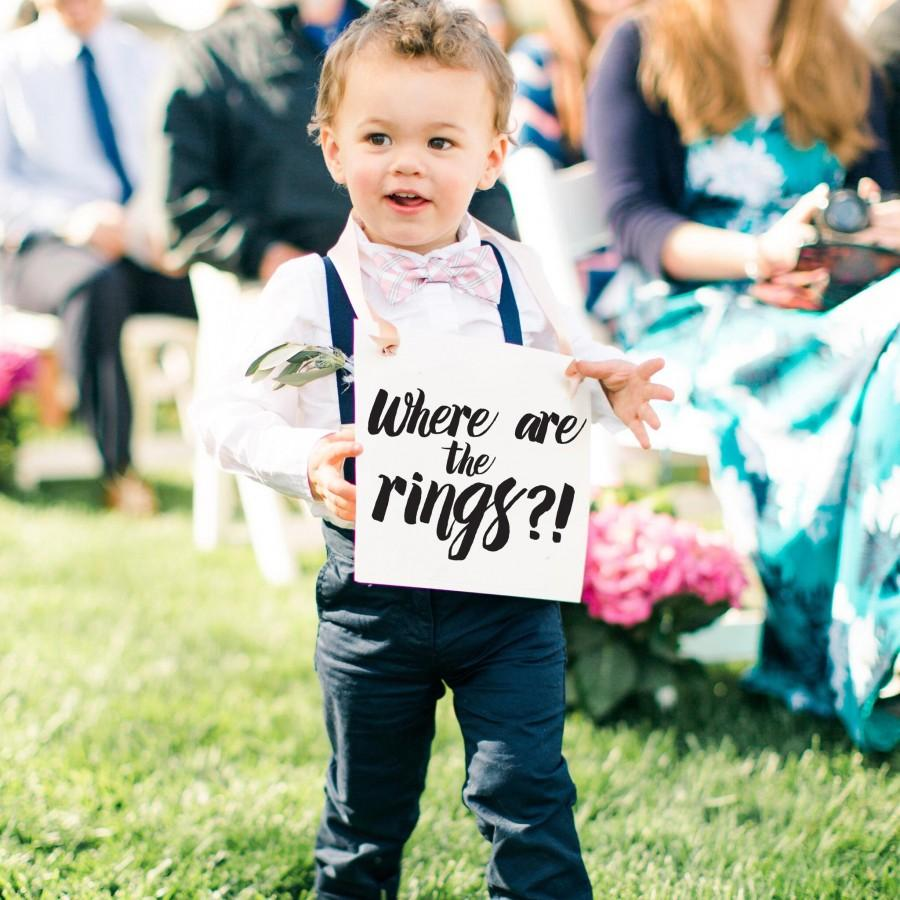 """Wedding - Funny Ring Bearer Sign """"Where Are The Rings?"""" Ringbearer or Page Boy Banner for Wedding Ceremony"""