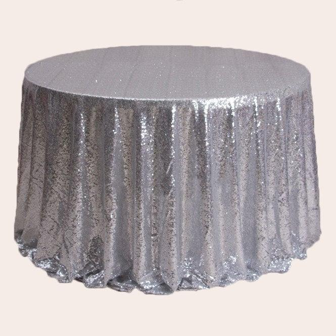 Wedding - 1pcs Silver Glitter Sequin Tablecloth Wedding Engagement Reception Ceremony Function Bouquet Christening Birthday Backdrop Christmas Decor