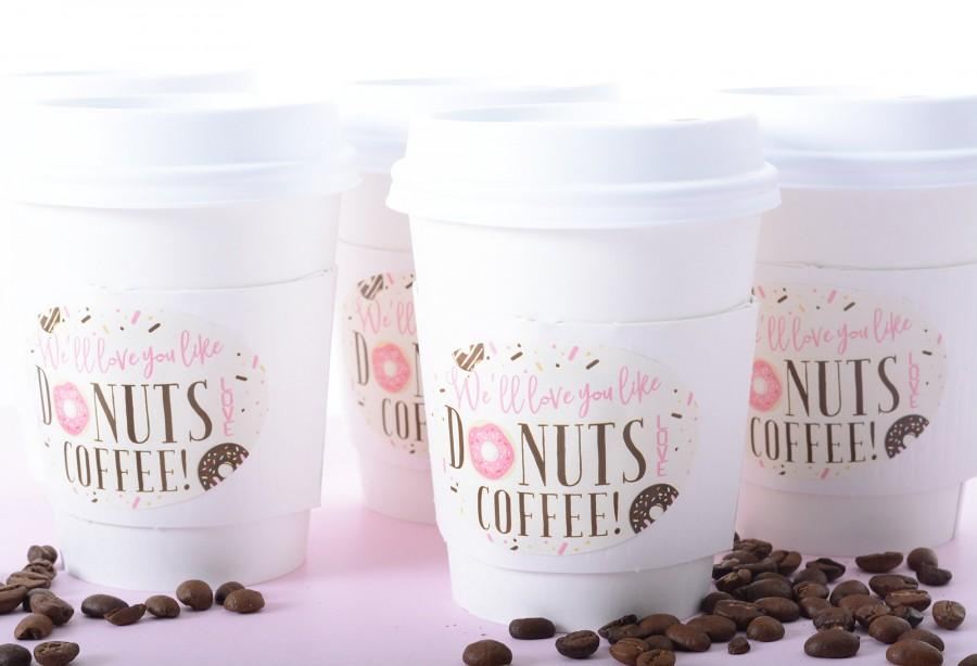 Mariage - Baby Shower Cups - Donut Baby Shower Coffee Cups - Beverage Cups - Hot Cocoa Cup Sets - Gender Reveal Coffee Cups & Labels - #bsCF-58