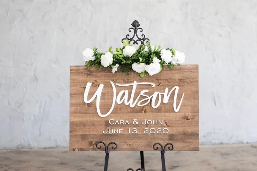 Wedding - Wedding Sign, Wedding Welcome Sign, Welcome Wedding Sign Wood, Wedding Signage, Wooden Wedding Sign, Last Name Wedding Sign, 3D Wedding Sign