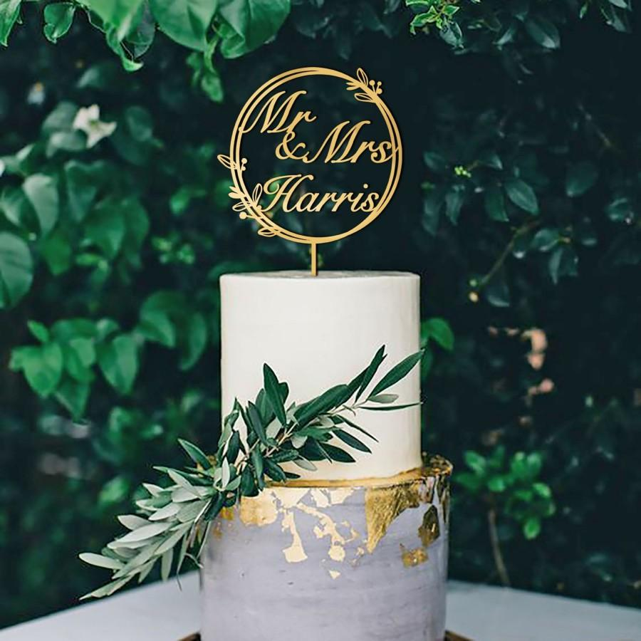 Mariage - Personalized Wedding Cake Topper With Rustic Wreath - Personalized Wedding Cake Topper With Name - Rustic Wreath Wedding Cake Topper