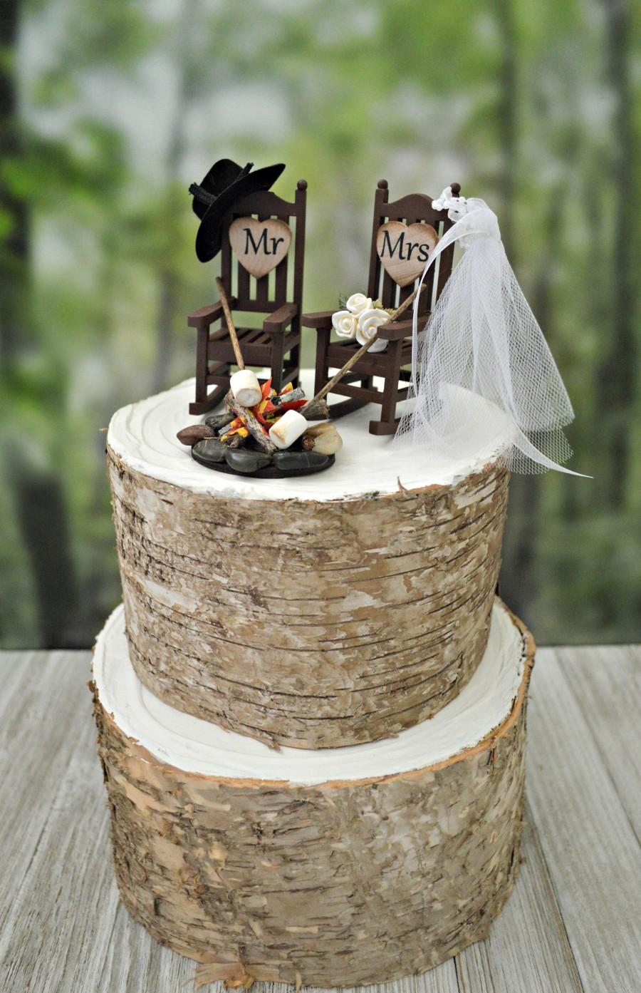 Wedding - Miniature rocking chair campfire marshmallow wedding cake topper camping roasting marshmallow bride groom 6 inch cake small western country