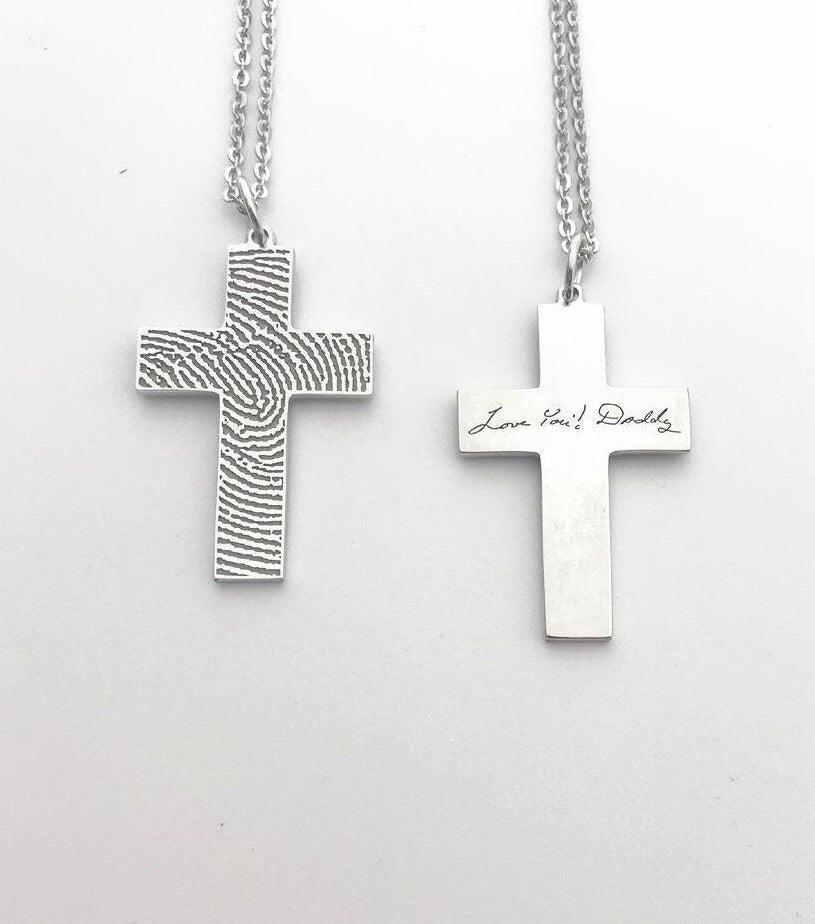 Wedding - 20%OFF:Man's Fingerprint Necklace/Fingerprint Cross Necklace//Handwriting Necklace-Sterling silver