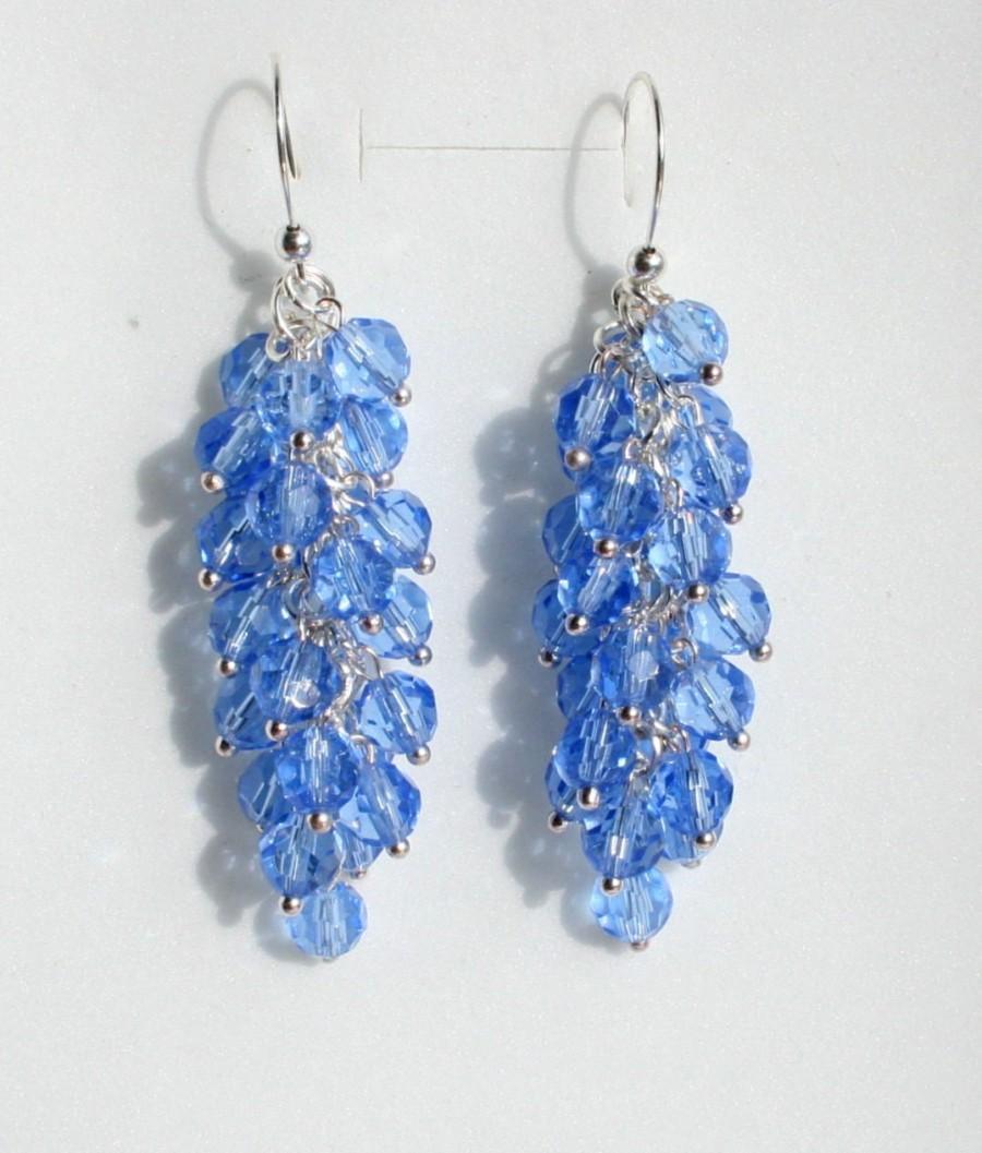 Wedding - blue quartz earrings, unusual earrings, blue earrings, wedding jewelry, bridal earrings, long earrings
