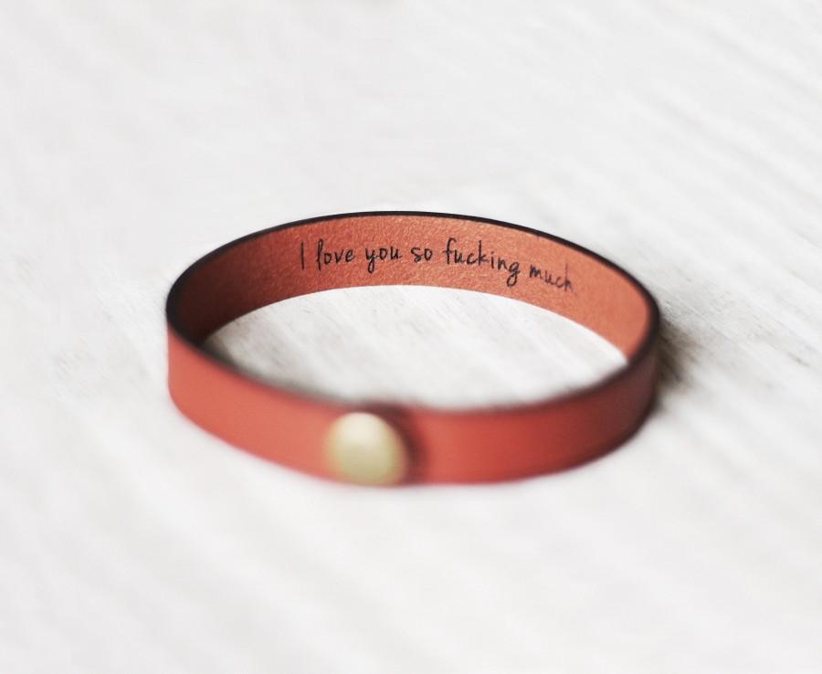 Mariage - Personalized Leather Bracelet, Gift For Him, 3rd Anniversary Custom, Engraved Secret Message Bracelet, Boyfriend Birthday Gift