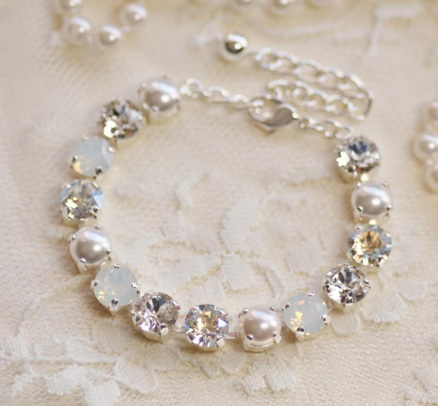 Wedding - Swarovski White Diamond Mist Pearl Rhinestone Tennis Bracelet Or Necklace,Crystal & Pearl Bracelet,White Opal,Opal Bracelet,Bridal,Wedding