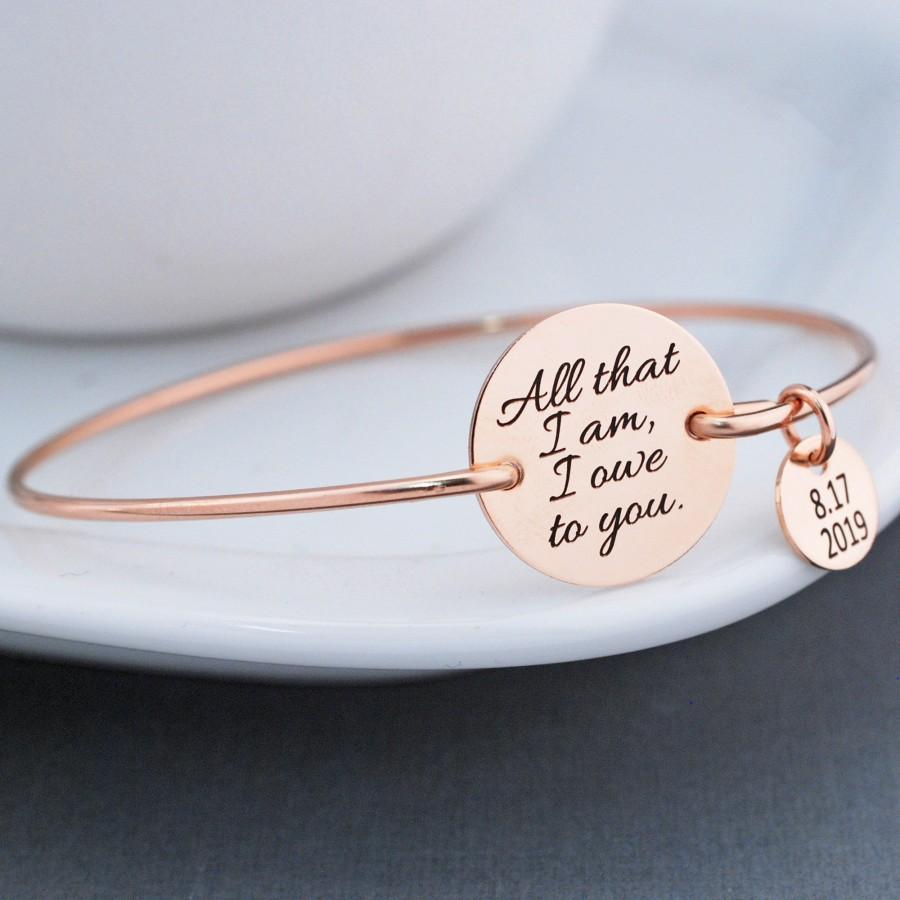 زفاف - Mother of the Bride Gift, All That I Am I Owe to You Bracelet, Gift for Mother of the Bride for Wedding, Gift for Mom Bracelet