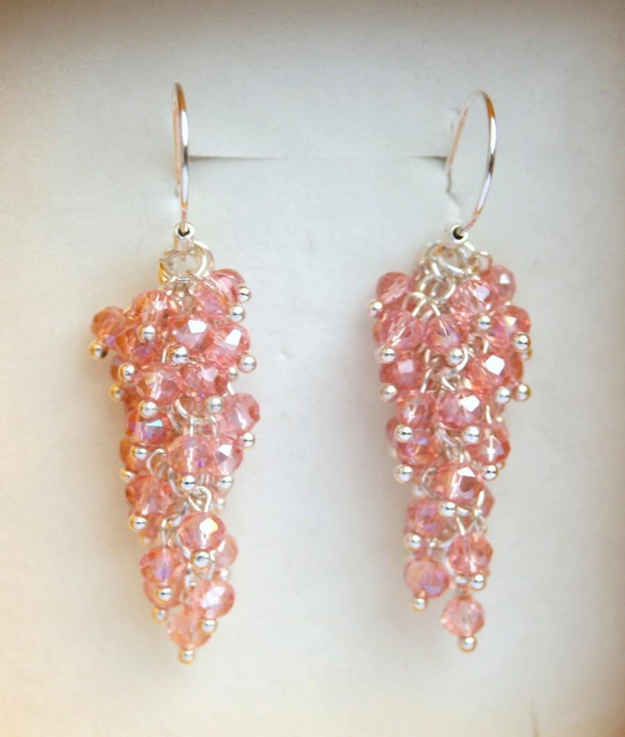 Wedding - pink crystal earrings, long earrings, sparkle earrings, boho earrings, wedding earrings, pink earrings