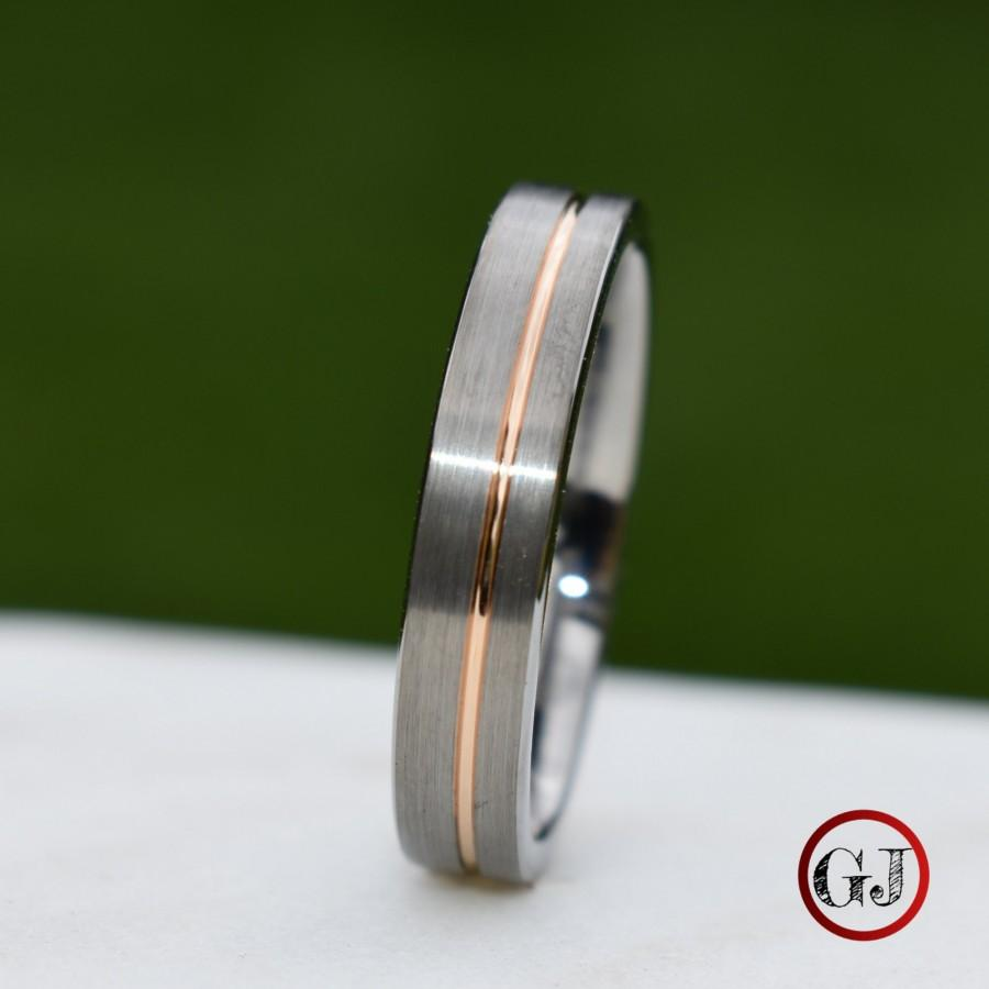 Wedding - Tungsten Ring 5mm Brushed Silver with Rose Gold Stripe, Mens Ring, Mens Wedding Band