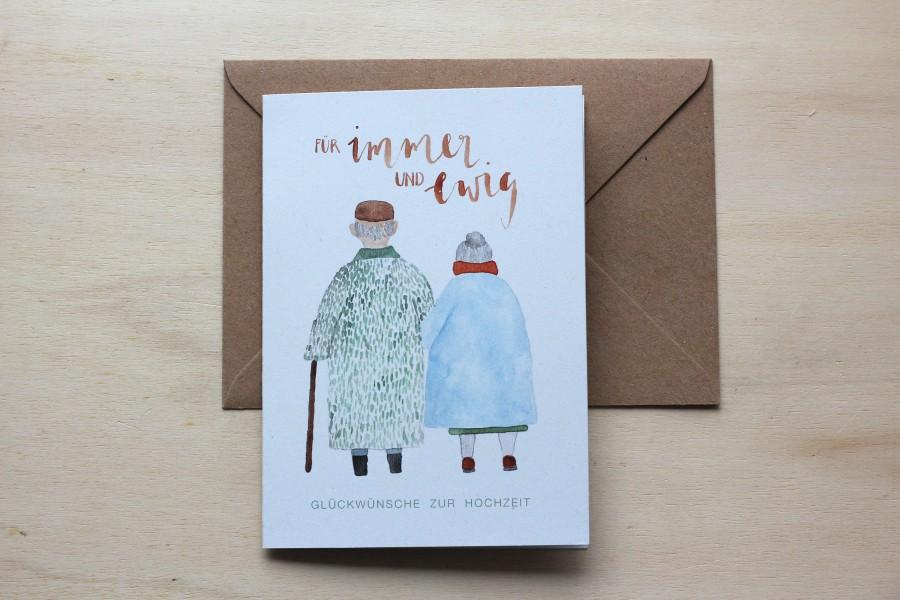 Wedding - Wedding card ' forever and ever ' watercolour illustration couple