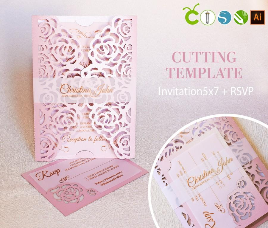 Wedding - Wedding invitation template envelope gate fold flower rose for laser cutting (svg, dxf, ai, eps, cdr) papercut lasercut stencil Cameo Cricut