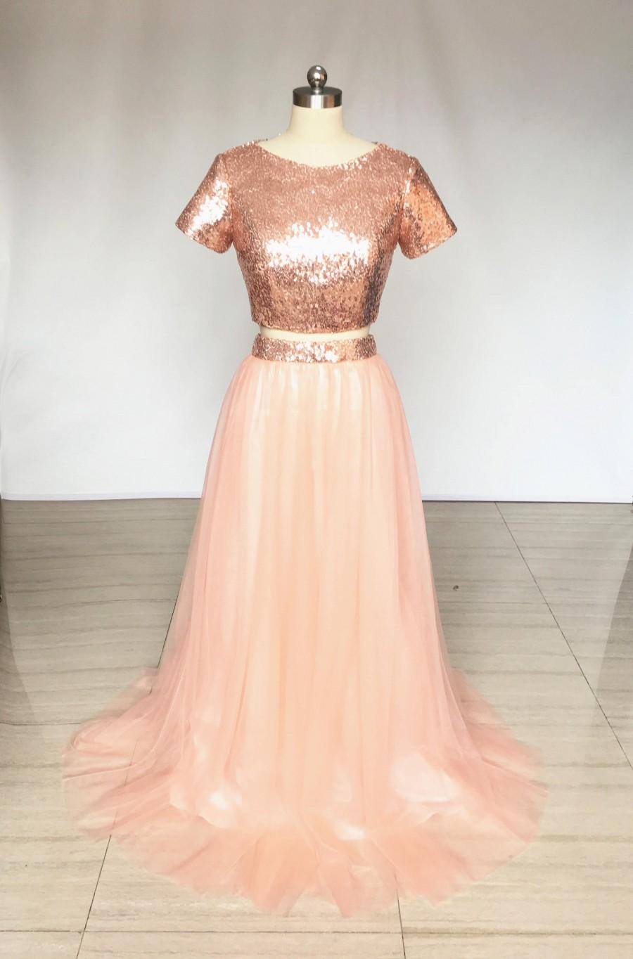 Wedding - Two Piece Rose Gold Sequin Tulle Long Bridesmaid Dress with Short Sleeves