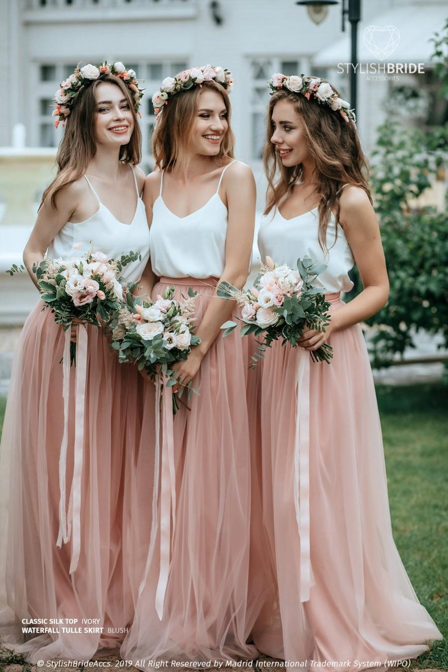 Wedding - Simple Bridesmaids Separates: Silk Classic Cami Top and Waterfall Floor Length Tulle Skirt, available in Plus Size