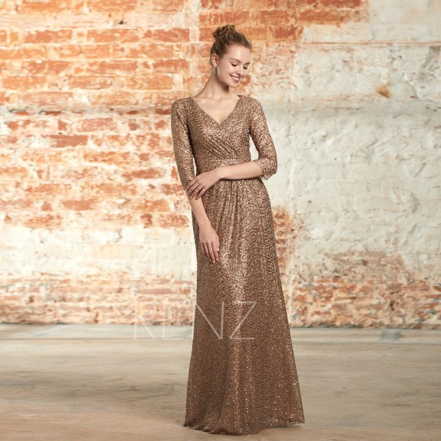 Wedding - Party Dress Bronze Sequin Dress Ruched V Neck Bridesmaid Dress Long Sleeve Prom Dress Luxury Glitter Maxi Dress Long Evening Dress(HQ646)