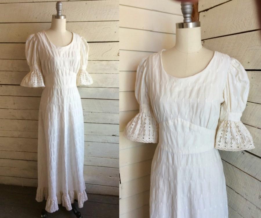Wedding - 70s Boho hippie wedding dress - cotton - muslin - handmade - maxi - puff sleeves - lace trim - ruffle - 60s