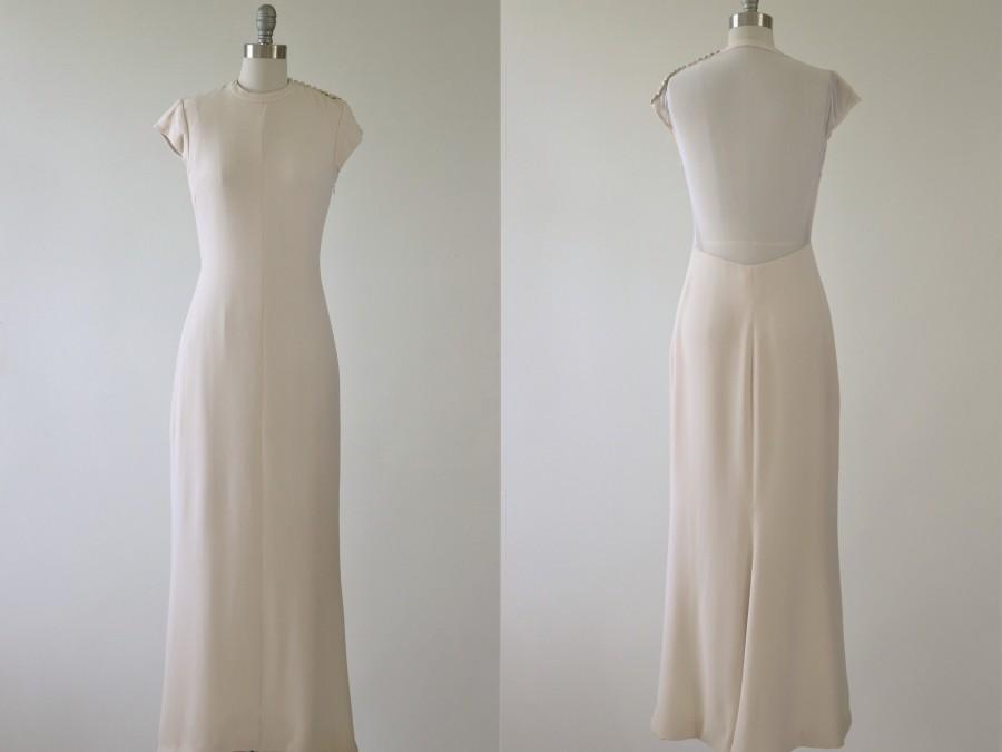 Mariage - Minimalist Open Back Wedding Dress 1990s Sheath