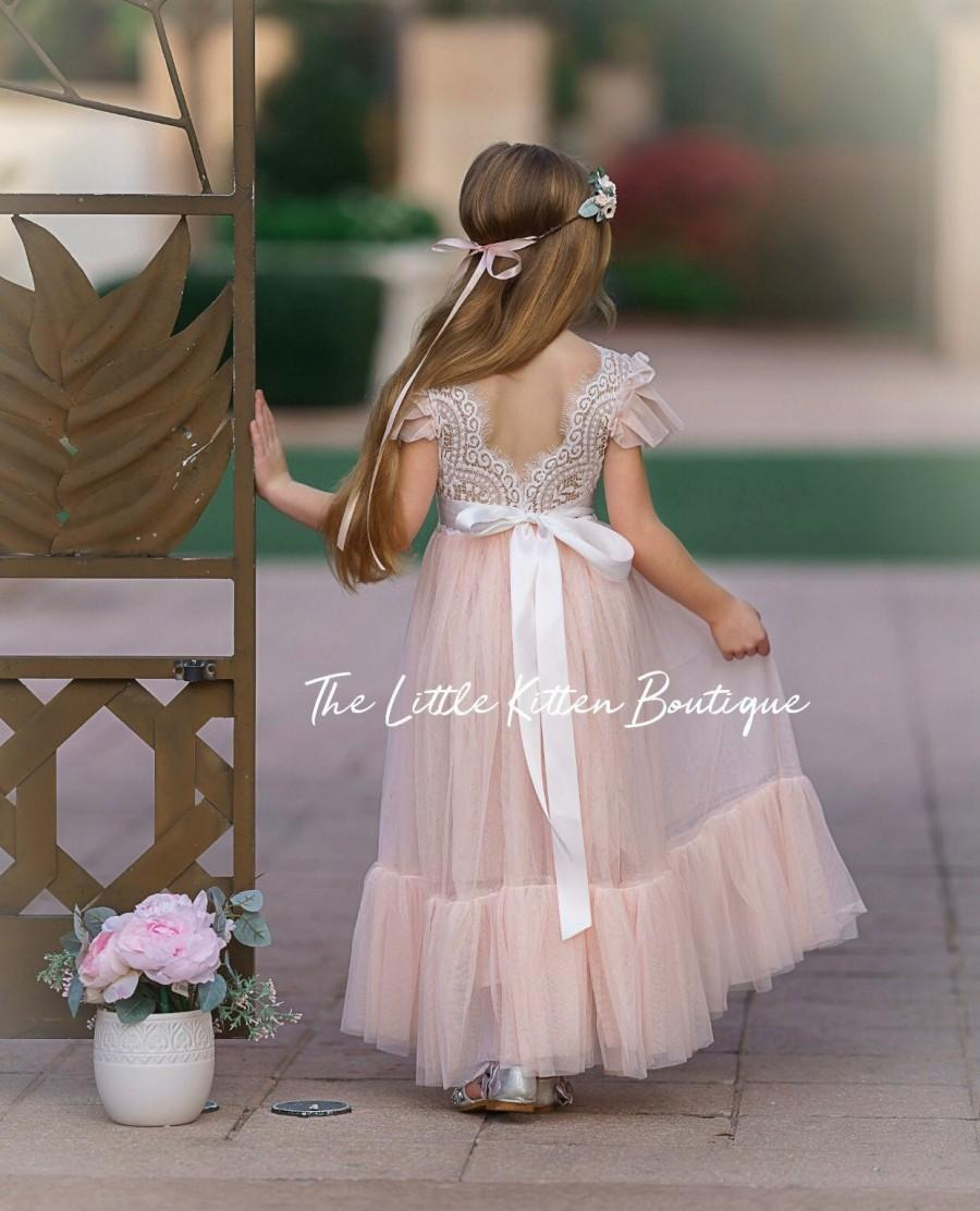 Mariage - tulle flower girl dress, rustic lace flower girl dresses, ruffle sleeve flower girl dress, boho flower girl dress, ivory flower girl dress