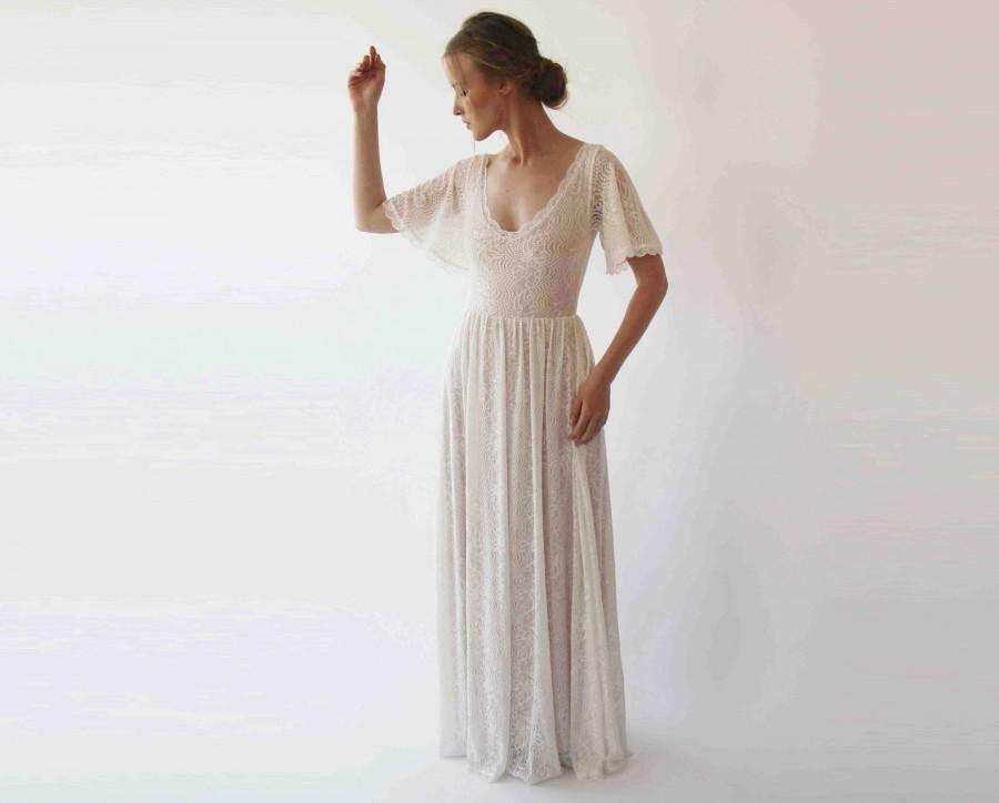 Mariage - SALE Cape sleeves lace bohemian wedding dress, Ivory nude color 1232