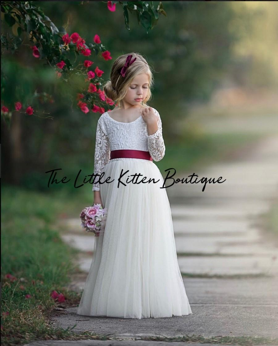Mariage - Tulle flower girl dress, long sleeve flower girl dresses, boho flower girl dress, bohemian ivory flower girl dress, lace flower girl dress
