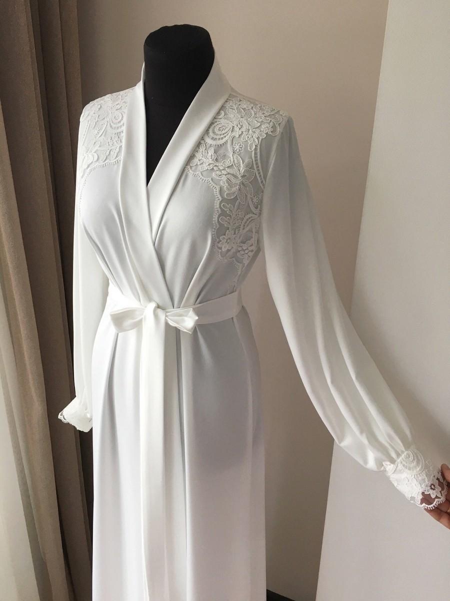 Wedding - Maxi bridal robe, long robe for bride, lace maxi robe, white robe, bridal robe with Lace
