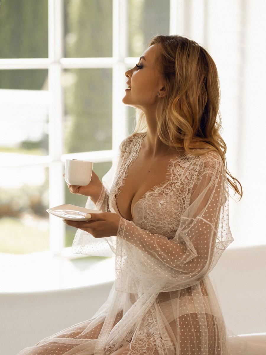 Hochzeit - Bohemian Wedding Robe, Dot Lace Bridal Gown, Long Morning Lingerie Robe, Boudoir Bride White Dress