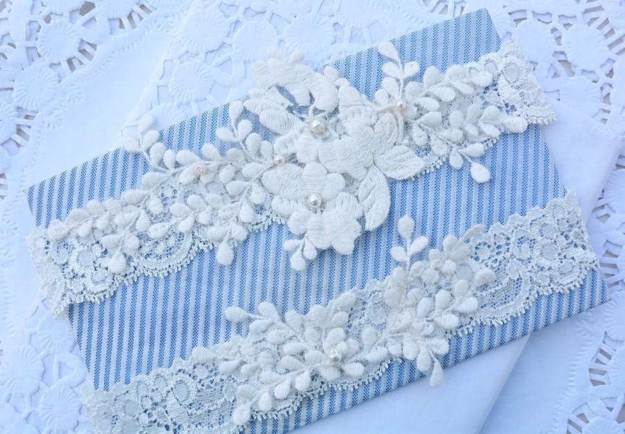 Wedding - Ivory Flower Lace Wedding Garter Set Belt, Wedding Garter Set Wedding, Garter Wedding Lace, Wedding Garter Ivory, Lingerie Garter For Bride