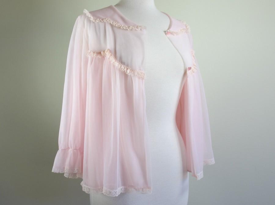 Wedding - 1950s Sheer Boho Hippie Jacket- Vintage Lingerie Bed Jacket Boudoir