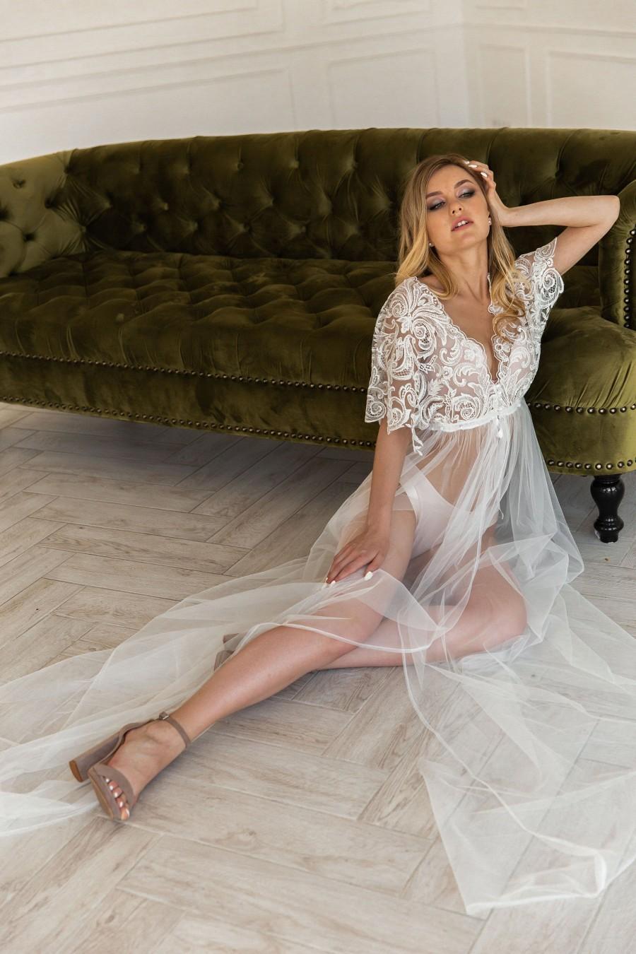 Wedding - Peignoir bride, Getting ready wedding, Ivory robe, Boudoir robe, Plus size lingerie,Bridal robes,See through lingerie,Wedding robe,Lace robe