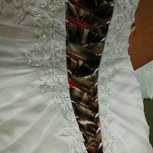 Wedding - CAMO Ribbon Ties+Camo CORSET Ties  with Accent colors to add to your Traditional wedding dress