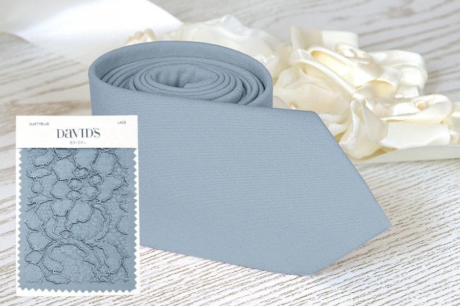 Wedding - DUSTY BLUE Tie David's Bridal Men's skinny tie Groomsmen Neckties Special Order Tie BowTie Pocket square Suspenders Wedding Ties Necktie