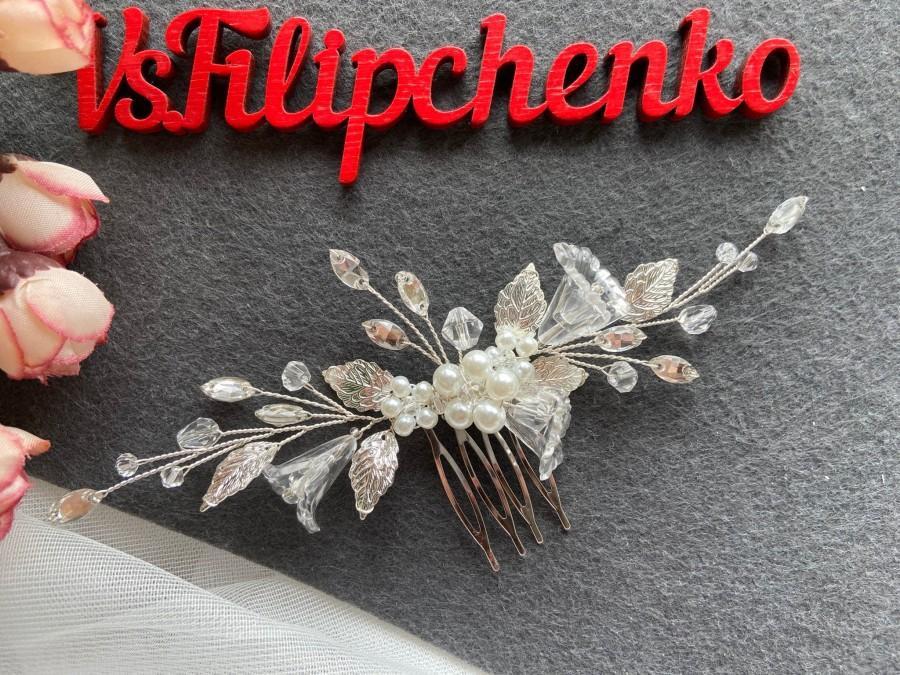 Wedding - Flowers wedding hair comb for bride, Silver leaves bridal hair comb, Floral Bridal hair piece, Gold Wedding headpiece, Rose gold hair clip