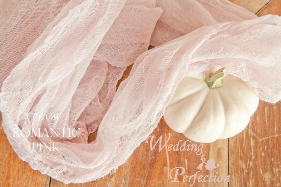 Wedding - Color Choice Cream Blush Gauze Cheesecloth Table Runner Weddings Special Events Decor Hand Dyed Arbor Scrim Cheesecloth Runner Length Choice