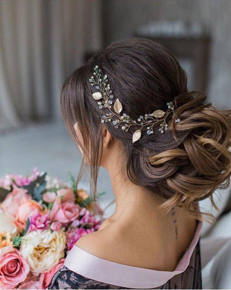 Wedding - Rose gold hair piece  Pearl Bridal headband Rose gold hairpiece Rose gold hair vine Wedding head piece Wedding hair piece Rose gold wreath